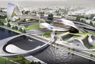 Sfałdowane centrum kultury Chengsha. Coop Himmelb(l)au